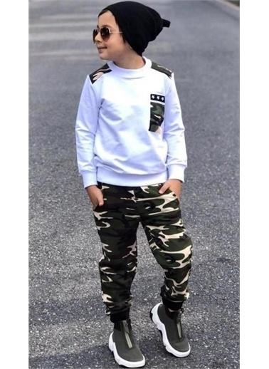 Riccotarz Erkek Çocuk Yıldız Cepli Kamuflaj Eşofman Takım Renkli